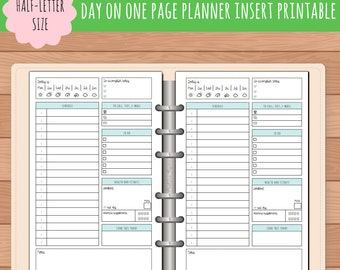 HALF-SIZE Day On One Page Planner Insert Printable | Fits Kikki K Large & Filofax A5 Instant Download