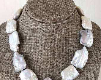 Jumbo Biwa Freshwater Pearl Necklace with Sterling Clasp - June Birthstone One of a Kind Bridal Necklace