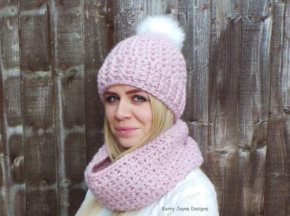 Snuggle Pom Crochet Hat Pattern Crochet Cowl Pattern Crochet Scarf