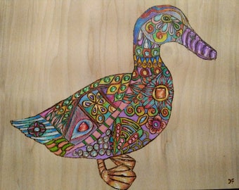 "Pyrography Woodburning, Janis the Duck  11""x8.5"""