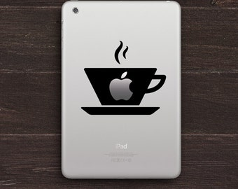 Warm Cup of Apple, Coffee Lover Vinyl iPad Decal BAS-0265
