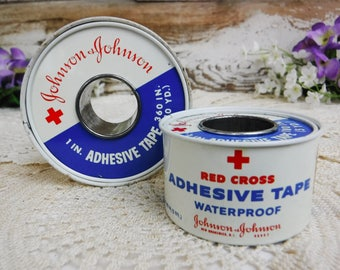 Collectible Tin/Medical First Aid Supply/Johnson & Johnson Tape/Red Cross/Advertising Tin Set/Storage/Vintage