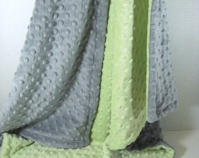 Sage and Gray Minky Dot Baby Blanket, Mint and Gray Minky Baby Blanket, unisex baby gift