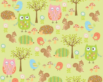 Riley Blake Designs Owl & Co. Cottons Owls Friends Green fabric   - 1 yard