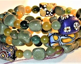 Ethnic Aventurine, Serpentine & Antique African Trade Bead Wrap Bracelet OOAK