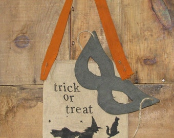 Primitive Halloween Trick or Treat Bag Wallhanging -     Ready to Ship