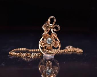 Vintage Louis Stern Co Blue Topaz Floral Necklace in 10k Gold-Fill