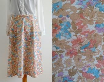 Vintage skirt, Medium Skirt, Floral skirt, Midi skirt, Summer skirt, Retro skirt, 1990 skirt
