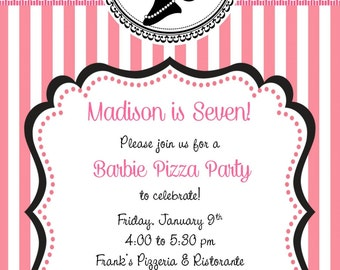 Barbie Birthday Party Invitation - Customized