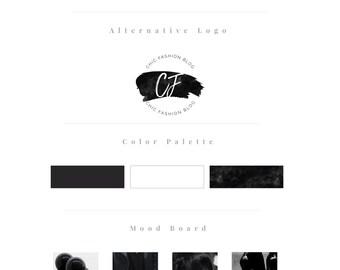 Premade logo, Premade logo design, blog logo, Blog branding kit, Blog branding package, Blog logo kit, Watercolor logo, Black logo