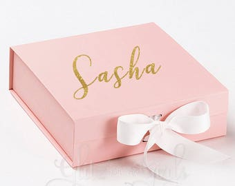 Bridesmaid Gift Box, Thank You For Being Our, Wedding Box, Bridal Party Gift Box, Maid of Honour, Flowergirl, Pink Gift Box