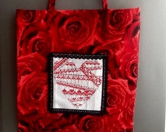 Embroidered heart and red roses tote bag