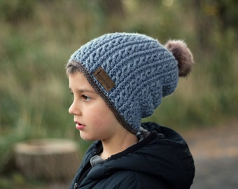 """Crochet Pattern Cable Hat Crochet Pattern for slouchy boys """"Cash"""" beanie, winter hats 2017 trends cables PATTERN ONLY"""