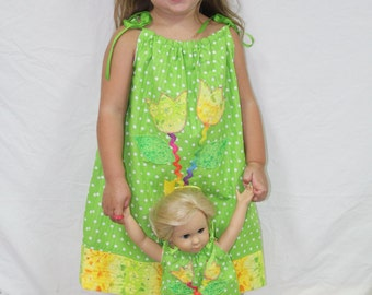 Pillowcase Dress, girls dresses, lime, American girl doll, summer dress, birthday gift, handmade, custom, doll clothes, 18 inch doll clothes