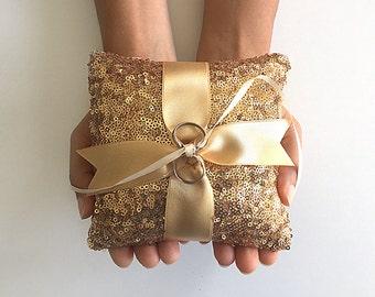 Ring Bearer Pillow, Sequin Pillow, Gold Pillow, Boho Ring, Ring Pillow Alternative, Ring Bearer, Wedding Ring Holder, Unique Holder, Sequin