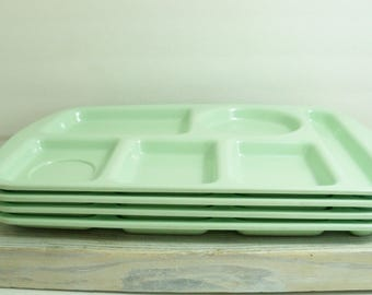 School Lunch Trays - Vintage 1960s Mint Green Trays - 6 Compartments - Melmac - Melamine - Prolon Ware, Florence, Mass - No 9953-2 - 4 Pcs