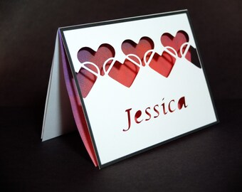 Cut-out Romantic Love Card, String of Hearts. Personal text for Valentine's Day, Weddings, Anniversaries, and more!
