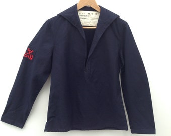 Sailor shirt | Vintage | 1970s | French navy | Wool | Blue | Square neck | Anchor | Embroidery