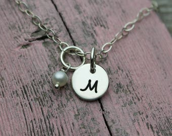 Hand Stamped Initial Charm Necklace, Sterling Silver