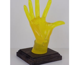 Yellow Female, POP-Hands, Colorful device holder for phones, tablets, business cards, etc. Customize the base color