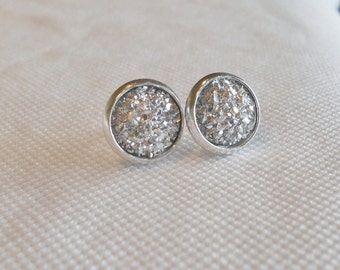 Druzy Earrrings, Druzy Stud Earrings, Faux Druzy Earrings, Silver Studs, Drusy Earrings, Silver Druzy Studs, Druzy Jewelry, Silver Druzy