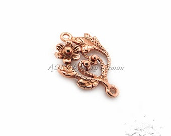 1pcs Copper Flower Pendant/Connector with Two Loops, Made in Israel, Total Size 17x11mm, code2357CO