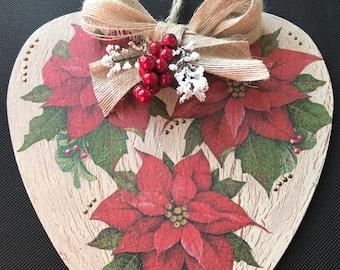 Large Wooden Heart Hanger - Christmas Poinsettia