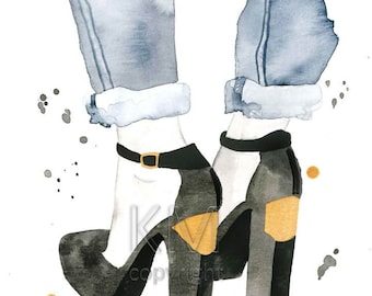 Fashion Illustration Watercolor Painting Print 'The Plated Heel' -- Home/office decor and wall art, Fashion prints, Black shoes, Gold plated