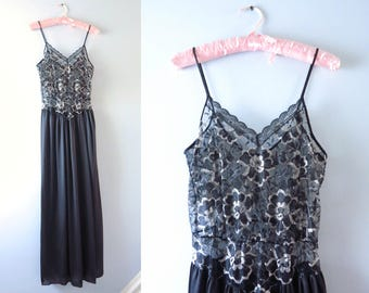 Vintage Black Gown | 1980s Black & Silver Lace Nightgown S