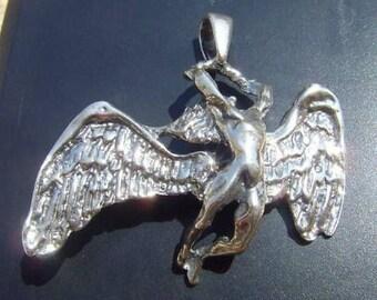 Heavy Led Zeppelin Swan Song Pendant Sterling Silver 925