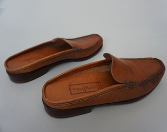 Vtg Cole Haan Genuine Leather Loafer Slides Slip On Shoes Mules | Made in Brazil | Whiskey Leather Brown | Women's 7