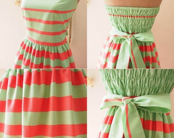 SALE - USD20- Size S- Green Pink Summer Dress Strapless Dress Green Pink Stripe Dress Sexy Sundress Beach Party Dress -Size S
