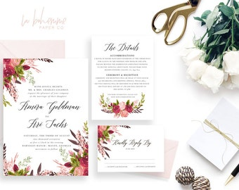 Printable Wedding Invitation Suite / Wedding Invite Set - The Amira Suite