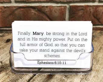 Encouragement | Personalized Laminated Encouraging Bible Verse Cards | Your Name in Each Verse | Make Scripture Feel More Personal