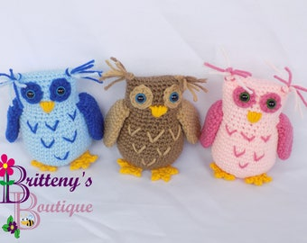 Owl Baby Shower Gift  Owl Gift  Baby Shower Gift  Owl Stuffed Animal  Stuffed Owl  Plush Owl  Owl Plush Toy  Pink Blue or Brown Owl