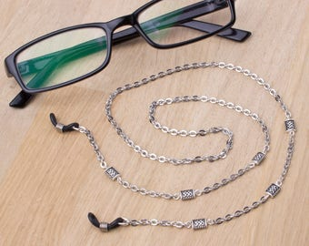 Silver eyeglasses holder chain - knotwork link glasses chain | Eyewear accessories | Readers gift | Sunglasses chain | Eyeglasses neck cord