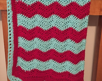 Red and Aqua Crocheted Ripple Baby Blanket