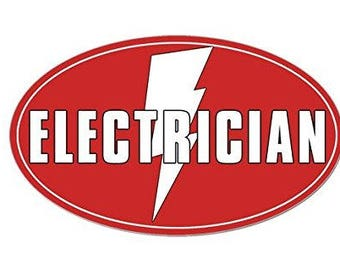Oval ELECTRICIAN Sticker (lightning bolt decal)