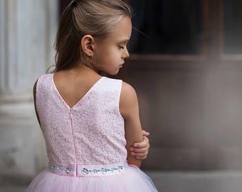 ALICIA - flower girl dress, flower girl dress tulle, first birthday dress, tulle dress for girl, pink tulle dress for girl, dress for girl