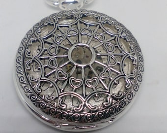 Mechanical Pocket watch Silver bath works perfectly