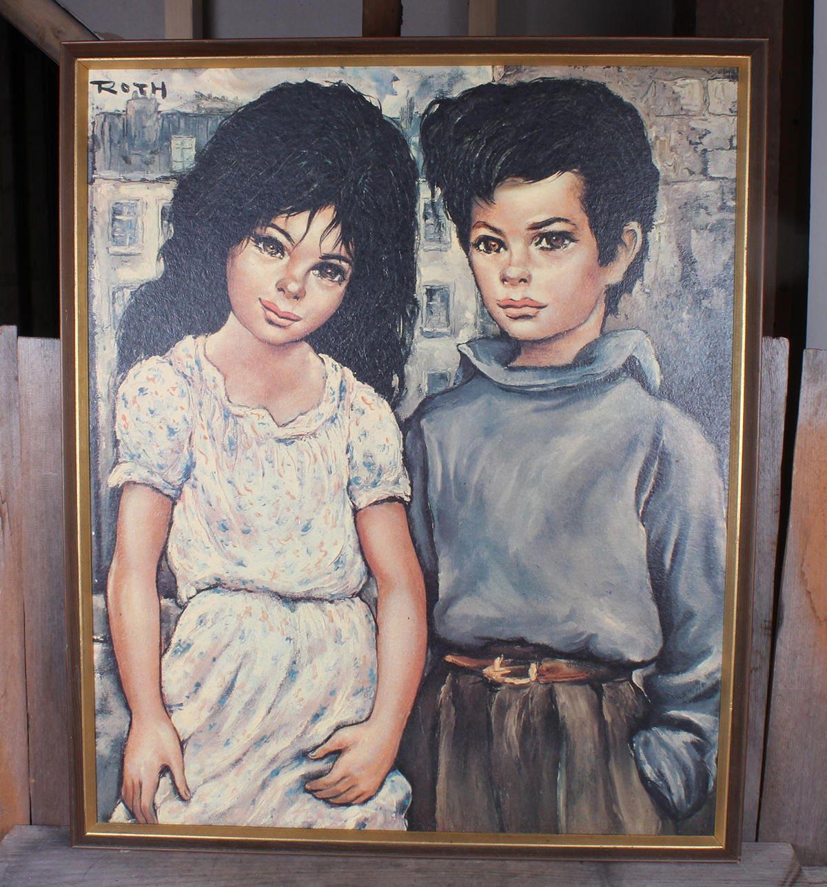 1960\'s Big Eye Roth Italian Gypsy Dark Haired Children