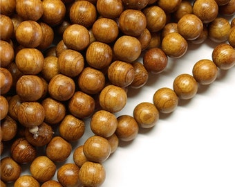 Wood Bead, Round 8mm, Bayong - Five 16 Inch Strands  (WDRD-08BY)