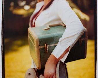 Film Photography Darkroom Art: Girl with Suitcase
