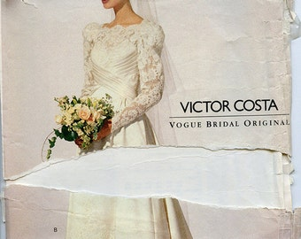 Vintage Victor Costa Vogue Wedding Dress UNCUT Sewing Pattern 8197 Sizes 6-8-10 small extra small