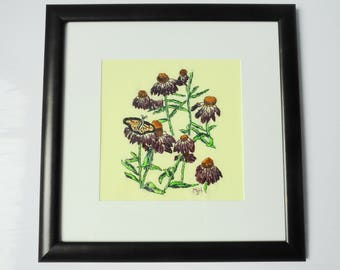 Purple Coneflowers and Butterfly