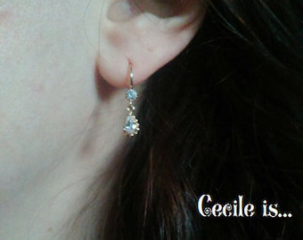 Tiny crystal and gold bridal earrings - Wedding earrings - Bridesmaids earrings gift - Cubic crystal drop earrings