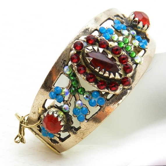 Vintage Kuchi Cuff Bracelet with original red glass gems - reimagined with Swarovski crystal in blue and green