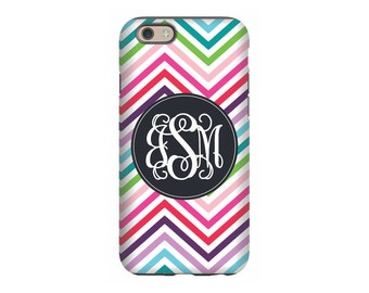 iPhone case, Rainbow Chevron,Personalized iPhone 8, iPhone 7, iPhone 6 Tin Tree Gifts Monogram Gift for Women