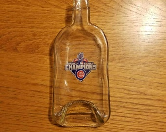 CUBS 2016 World Series Fireball Whiskey Bottle Melted Into a Dish