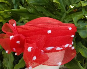Red and white pill box hat